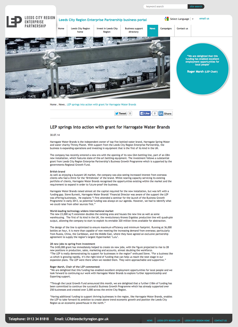 lcrep harrogate water brands case study copywriter leeds i recorded an interview steve burnett financial director then created this case study and a portfolio of shots