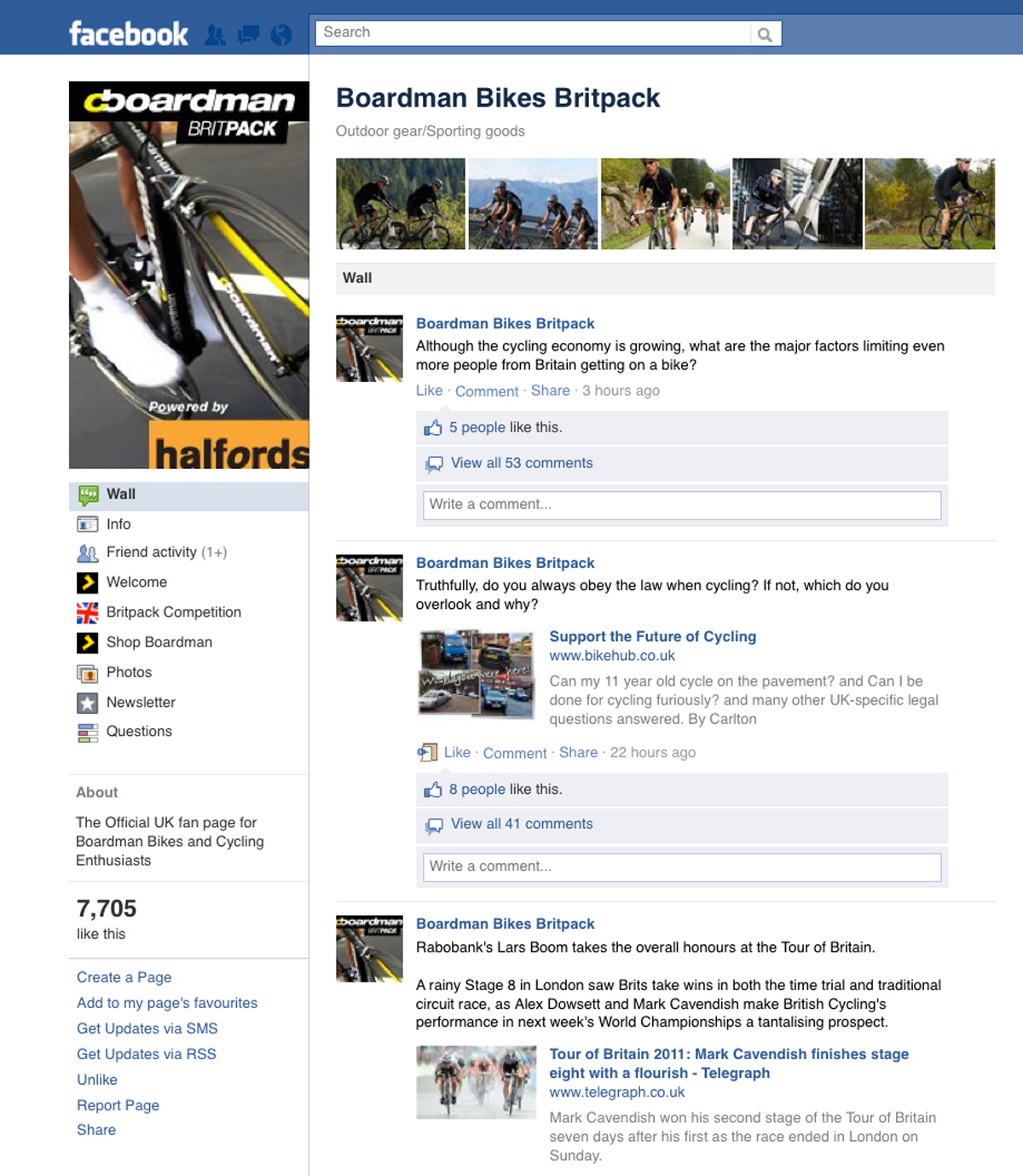 Halfords Britpack Facebook page | Freelance copywriter copywriting