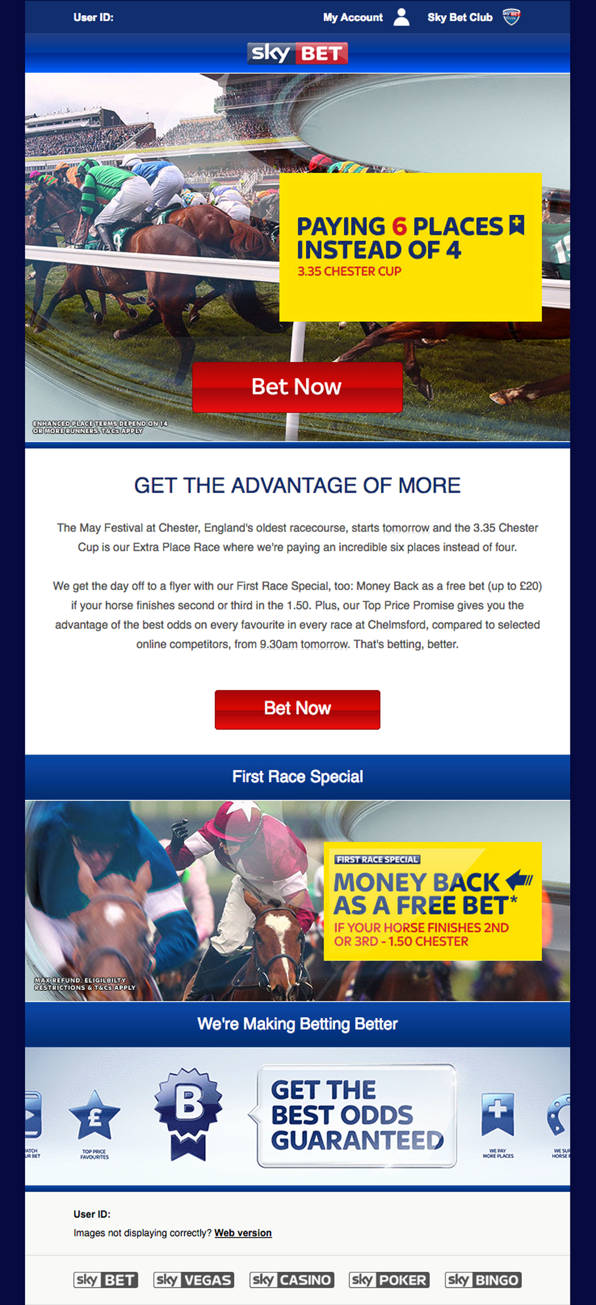 Sky Bet Horse Racing email | Freelance copywriter