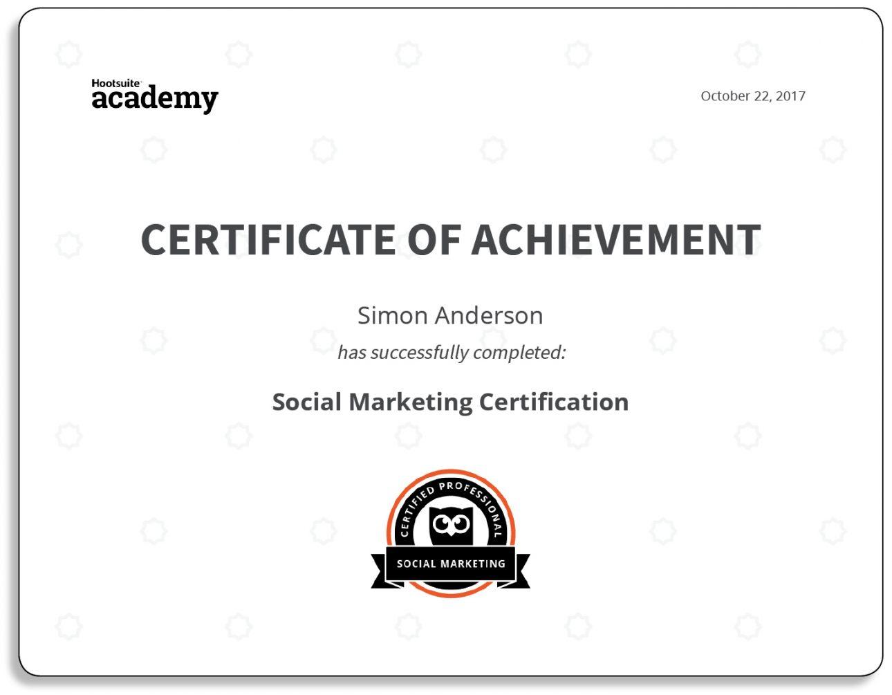 Hootsuite Social Marketing Professional Certification Freelance